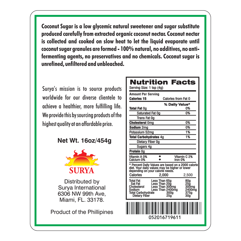 Coconut nectar nutrition facts