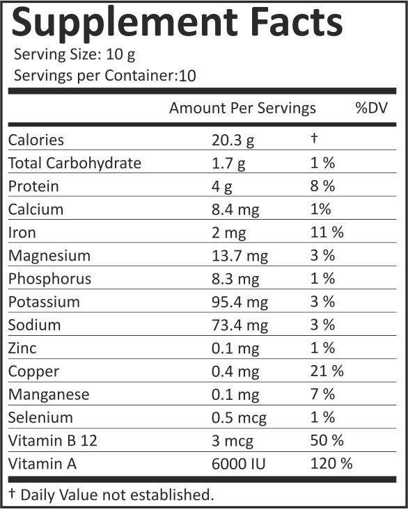Organic Spirulina Powder3 5oz See Supplement Facts